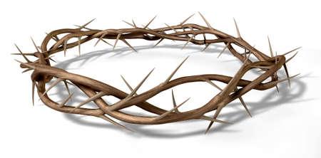 doornenkroon: Takken van doornen geweven in een kroon beeltenis van de kruisiging op een geà ¯ soleerde achtergrond Stockfoto