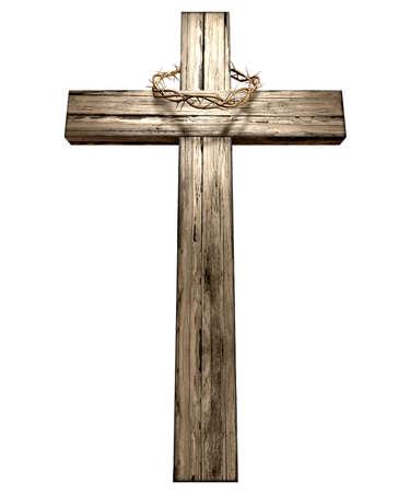 doornenkroon: Een houten kruis dat een christelijke geweven doornenkroon op het heeft beeltenis van de kruisiging op een geà ¯ soleerde achtergrond