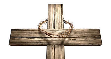 wooden cross: A wooden cross that has a christian woven crown of thorns on it depicting the crucifixion on an isolated background