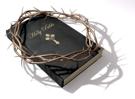 consecrated: A black leather bible with a gold inscription with a crown of thorns on top of it on an isolated background