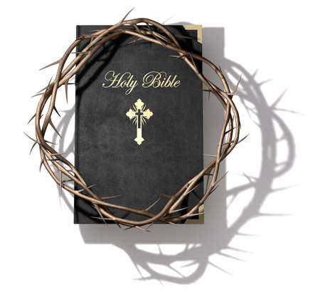 A black leather bible with a gold inscription with a crown of thorns on top of it on an isolated background Stock Photo - 17794200