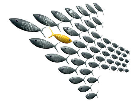 A perspective view of a school of stylized silvery fish swimming in the shape of an arrow with a contrasting golden one swimming in the opposite direction on an isolated background photo