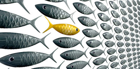 fish scales: A perspective view of a school of stylized silvery fish swimming in one direction with a contrasting golden one swimming in the opposite direction on an isolated background