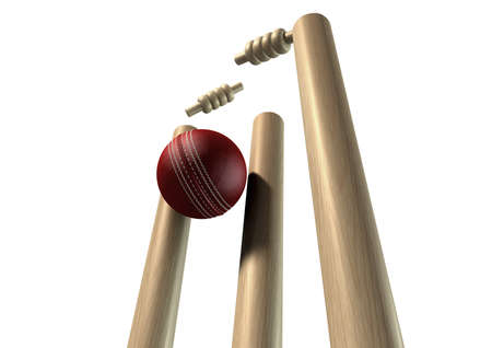 cricket sport: A red leather cricket ball striking and unsettling wooden cricket wickets and bails on an isolated background Stock Photo