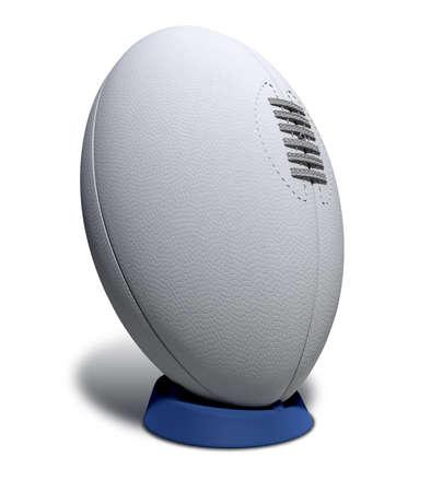 pelota rugby: Una llanura blanca pelota de rugby con textura con cordones en una camiseta azul patadas en un fondo aislado