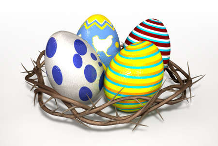 embellished: Four foiled easter eggs in a nest made out of a crown of thorns on an isolated background Stock Photo
