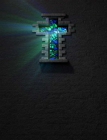 church window: A blue and green patterned stain glass window in the shape of a crucifix with a spotlight shining through it
