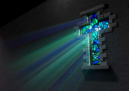 catholic church: A blue and green patterned stain glass window in the shape of a crucifix with a spotlight shining through it