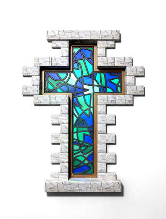 A blue and green stain glass window in the shape of a crucifix with a border of bricks on an isolated background photo