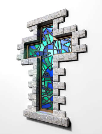 A blue and green stain glass window in the shape of a crucifix with a border of bricks on an isolated background Stock Photo - 18002082