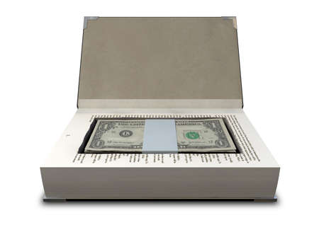 hardback: A hardback book with a cutaway area in the pages concealing a stack of dollar bills on an isolated background
