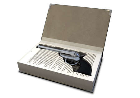 A hardback book with a cutaway area in the pages concealing a metal pistol on an isolated background Stock Photo - 18029057