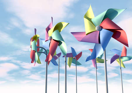 differently: Eight regular toy pinwheel windmills with five differently colored vanes on sticks on a bluesky and cloud background