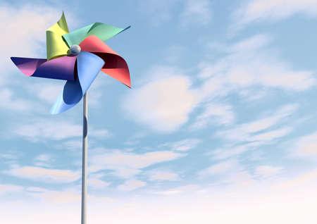 wiatrowskaz: Regularne zabawka wiatrak wiatraczek z pięciu różnokolorowych łopatek na patyku na tle bluesky i chmura Zdjęcie Seryjne