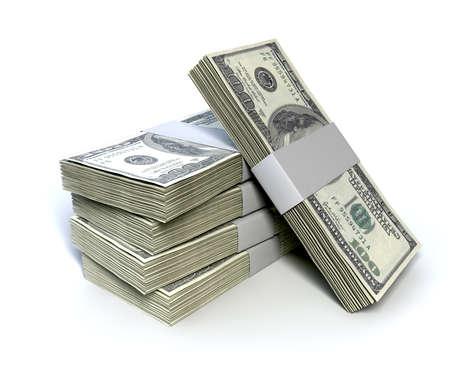 apilar: Una pila de paquetes de cien notas de dólar proyecto de ley sobre un fondo aislado Foto de archivo