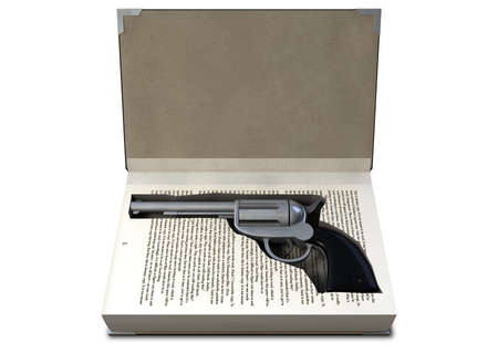 hardback: A hardback book with a cutaway area in the pages concealing a metal pistol on an isolated background