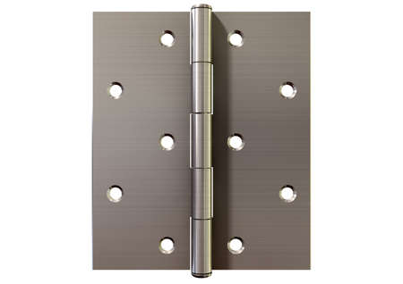 hinged: A regular open brushed metal door hinge on an isolated background Stock Photo