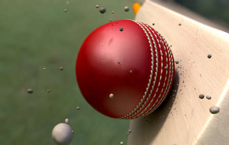 emanating: A red leather stitched cricket ball hitting a wooden cricket bat with dirt particles emanating from the impact Stock Photo