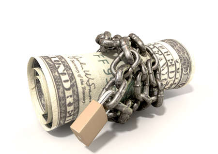 confine: A rolled up $200 dollar note wrapped with chains and secured with a padlock on an isolated background