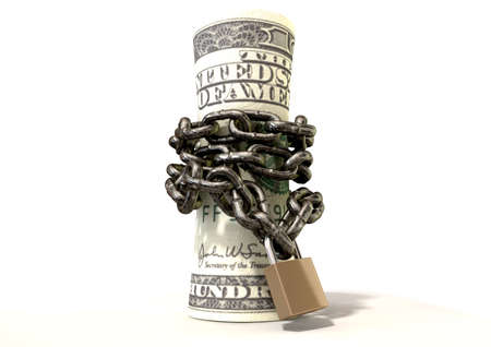 A rolled up $200 dollar note wrapped with chains and secured with a padlock on an isolated background photo