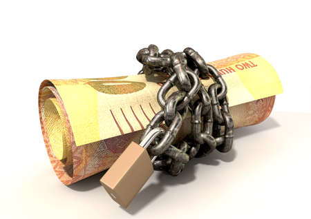 rand: A rolled up two hundred rand note wrapped with chains and secured with a padlock on an isolated background
