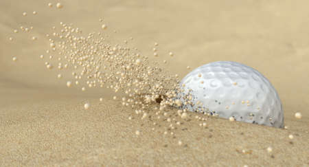 emitting: An extreme close up of a golf ball hitting the sand in a bunker and emitting grains of sand forwards Stock Photo