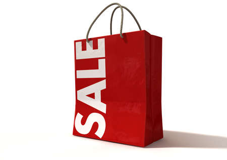 A perspective view of a regular red paper shopping bag with rope handles and the word sale in white on an isolated background Stock Photo - 18240207