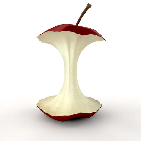 eaten: An eaten red apple showing its core on an isolated background