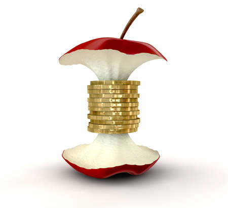 fundamentals: An apple core with gold coins as the centre on an isolated background Stock Photo