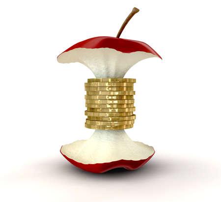 Apple core złotych monet jak centrum na tle pojedyncze Zdjęcie Seryjne