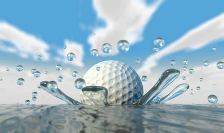 ball on water: An extreme closeup of a golf ball hitting water on a blue sky background Stock Photo