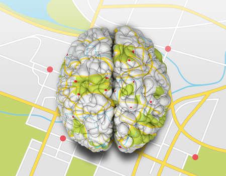 mente: Un cerebro envuelto con una textura de hoja de ruta sencilla que pone en una hoja de ruta solapa Foto de archivo