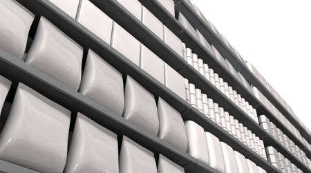 nonspecific: A unsaturated close up view of a few sections of supermarket shelving with generic products packed into them