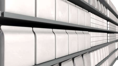 unsaturated: A unsaturated close up view of a few sections of supermarket shelving with generic products packed into them