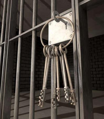 cellule prison: Un gros plan de la serrure d'une cellule de prison de barres de fer et un tas de cl� dans le m�canisme de verrouillage avec la porte ferm�e