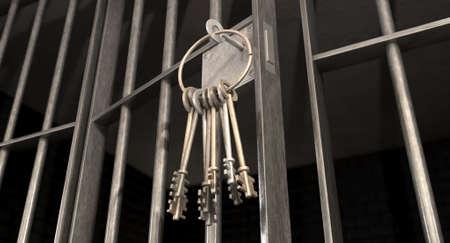 rejas de hierro: Un primer plano de la cerradura de una celda con barrotes de hierro y un montón de clave en el mecanismo de bloqueo con la puerta abierta
