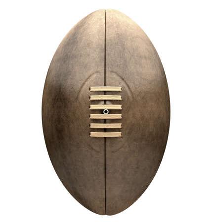 pelota rugby: Una vista frontal de una pelota de rugby de cuero viejo clásico con cordones y costuras en un fondo aislado