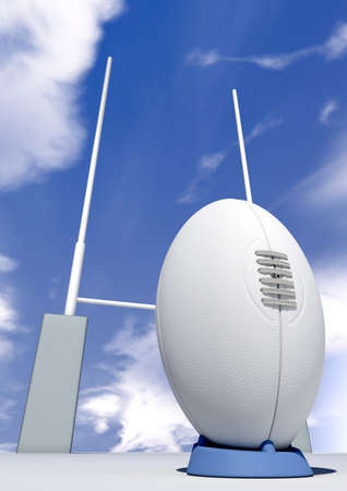 A perspective view of a plain white rugby ball on a blue kicking tee in front of some rugby posts on a blue sky background photo