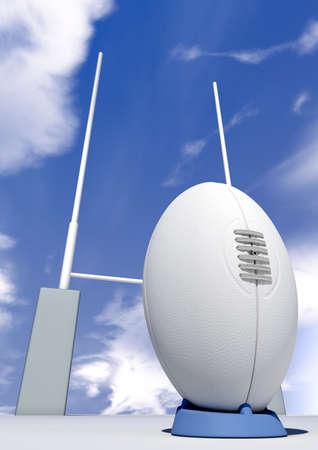 pelota de rugby: Una vista en perspectiva de una simple pelota de rugby blanco en una camiseta azul patadas delante de algunos puestos de rugby en un fondo de cielo azul
