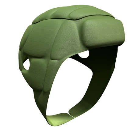 headgear: A regular green rugby scrum cap on an isolated background Stock Photo