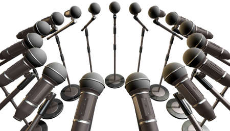 inwards: An array of black plastic and foam microphones on stands facing inwards on an isolated background