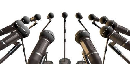 inward: An array of black plastic and foam microphones on stands facing inwards on an isolated background