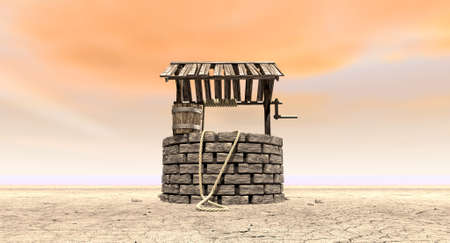 water well: A brick water well with a wooden roof and bucket attached to a rope in a flat barren landscape with an orange sky