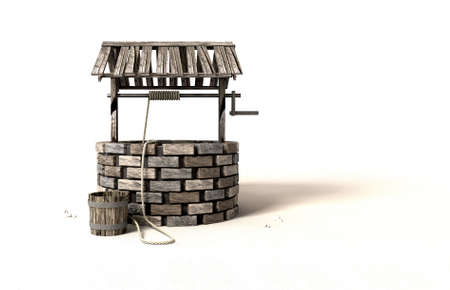 water well: A brick water well with a wooden roof and bucket attached to a rope next to it on an isolated background
