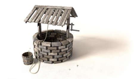 emmer water: Een baksteen waterput met een houten dak en een emmer aan een touw naast het op een geïsoleerde achtergrond