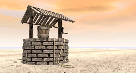 A brick water well with a wooden roof and bucket attached to a rope in a flat barren landscape with an orange sky
