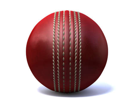 cricket ball: An red leather cricket ball isolated on a white background