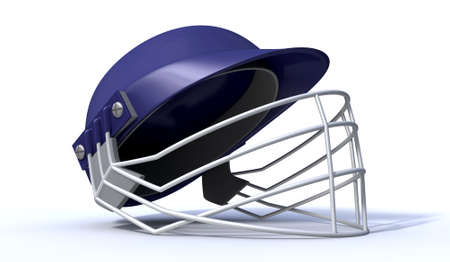 cricket helmet: A regular blue plastic cricket helmet with a metal grill on an isolated background