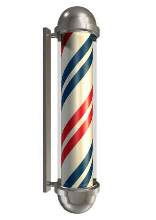 A regular vintage barbers pole in chrome blue white and red on an isolated background photo