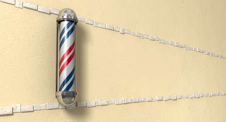 cement pole: A perspective view of a regular red blue and white chrome barbers pole mounted on a yellow plaster wall Stock Photo